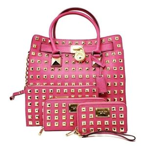 Michael Kors Hamilton Satchel 4 Piece Set Pink
